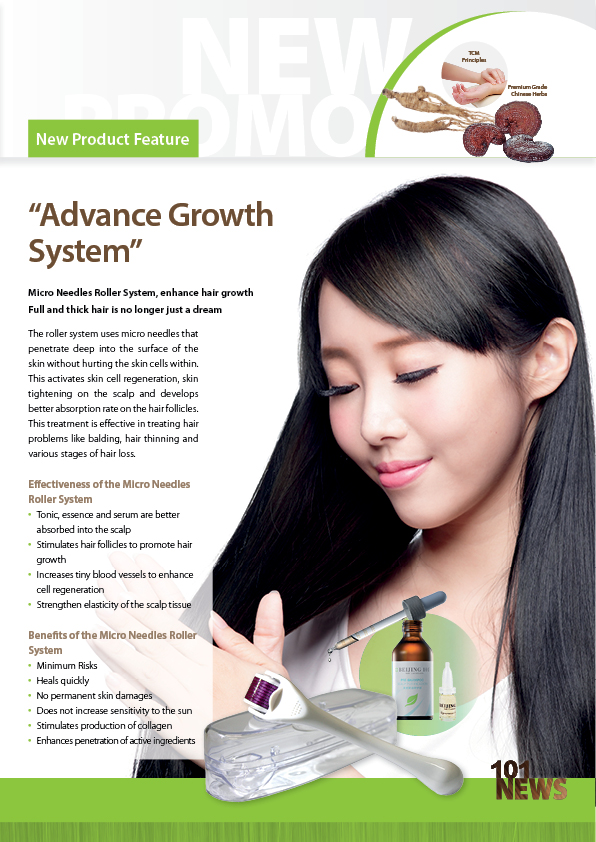 Advanced growth system with Beijing 101 Hair Care.